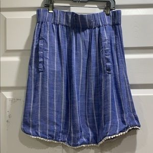 Fresh Produce Striped Linen Pull On Skirt S